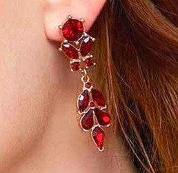 Ruby crystal drop earrings