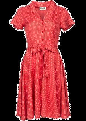 Pin dot print dress in red