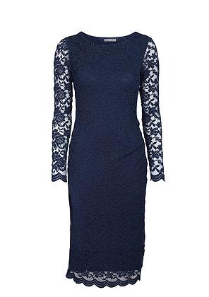Elegant lace pencil dress in midnight blue