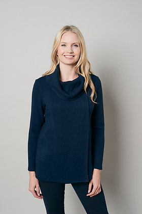 Cowl neck x over knit in navy