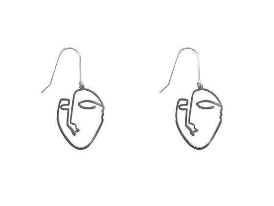 Face earrings in silver or gold