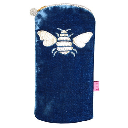 Velvet Bee glasses purse in blue