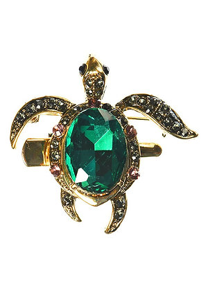 Emerald Turtle Brooch and Hair Clip