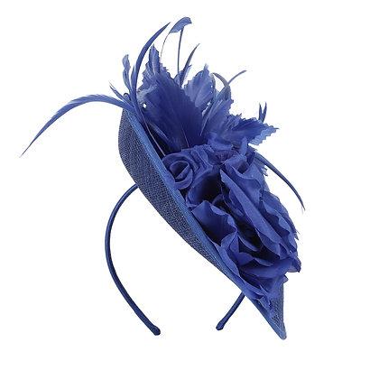 Royal blue capette fascinator on band