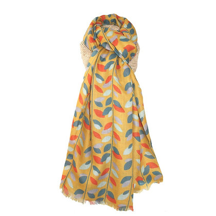 Autumn leaves scarf in mustard