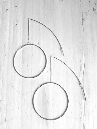 Chain bar hoop earrings in silver