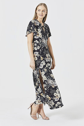 Floral maxi dress in navy