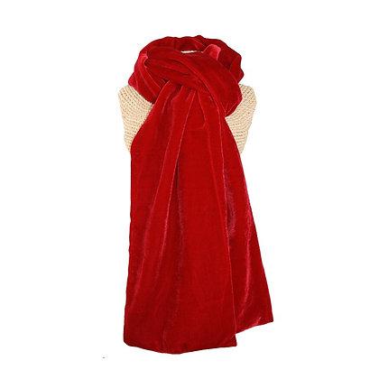 Velvet scarf in deep red
