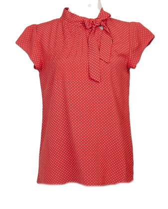 Pindot blouse in red