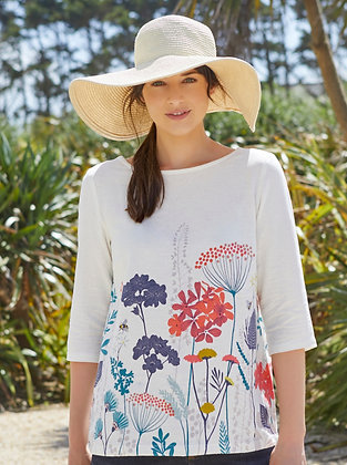 Border floral print top