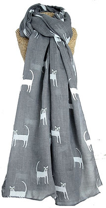 Cat print scarf in grey