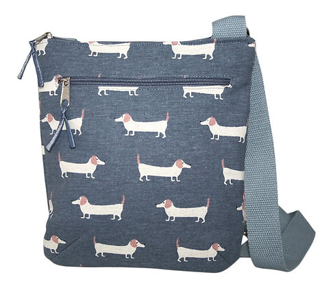 Sausage dog crossbody bag in blue