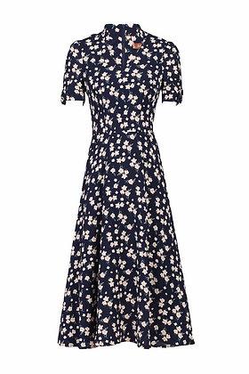 Olive floral tea dress navy