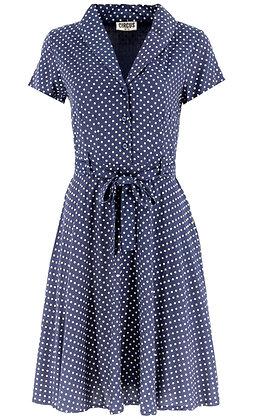 Polka dot shirt dress in ink blue