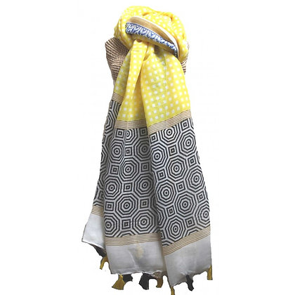 Tassle print scarf in grey and yellow