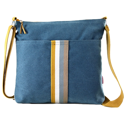 Messenger bag in denim with stripes