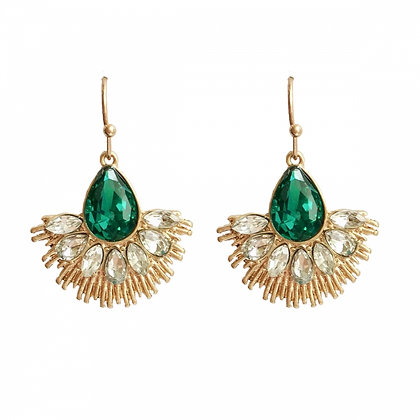 Crystal fan earrings in emerald green