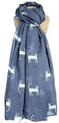 Cat print scarf in navy