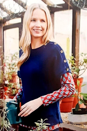 Button pullover knit in navy