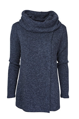 Cowl neck cardigan in navy