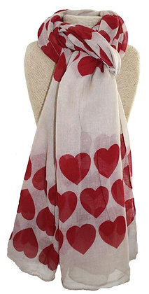 Cream and red heart scarf