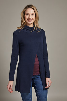Cross over cardigan in navy jersey