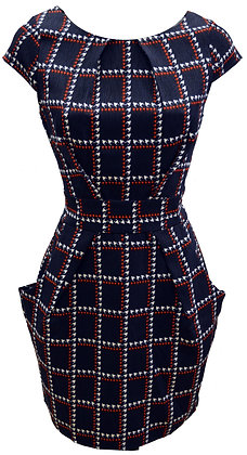 Check pocket dress in navy