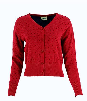 Pindot cardigan in deep red