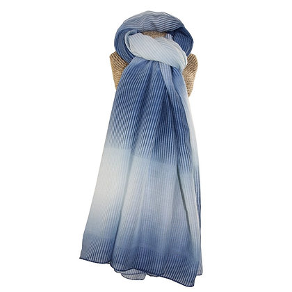 Two tone stripe scarf in blue