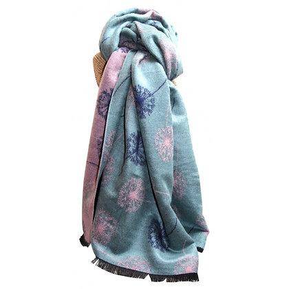 Dandelion shawl in sage & pink