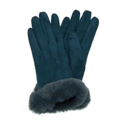 Faux fur trim gloves in teal