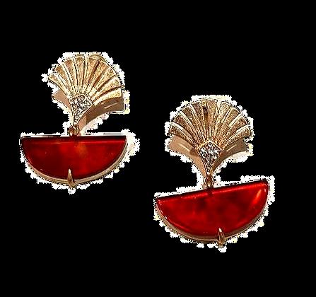 Red and gold fan drop earrings