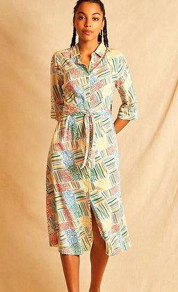 Painted checks shirt dress