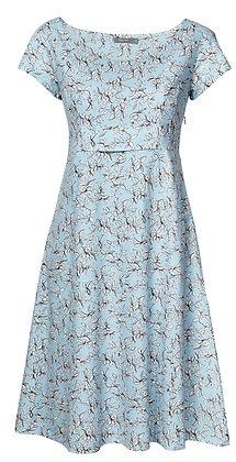 Pretty leaf dress in azure