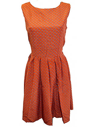 Scallop print dress in burnt orange