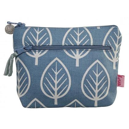 Twin zip leaf print purse
