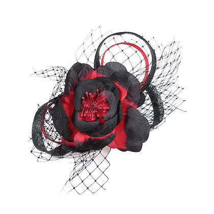 Red and black net fascinator on band