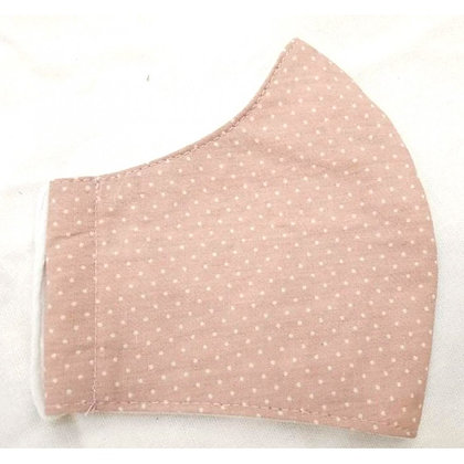 Curved cotton face mask pink pindot