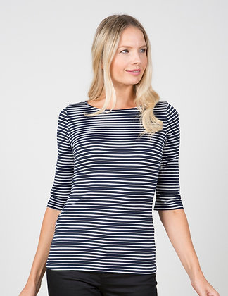 Monica stripe top in navy