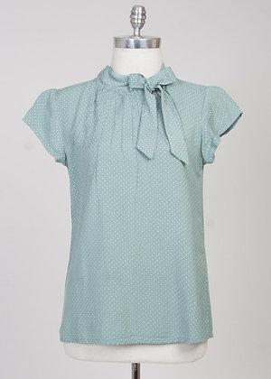 Pin dot blouse in mint