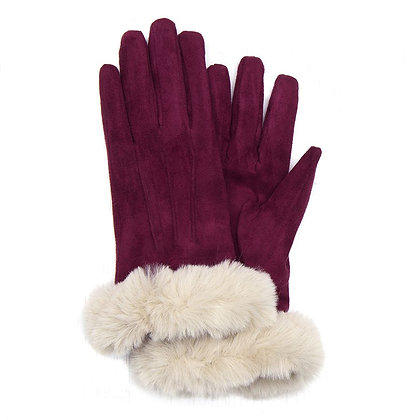 Faux fur trim gloves in burgundy