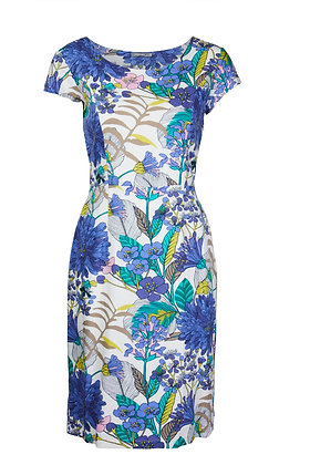 St Agnes botanical dress in blue