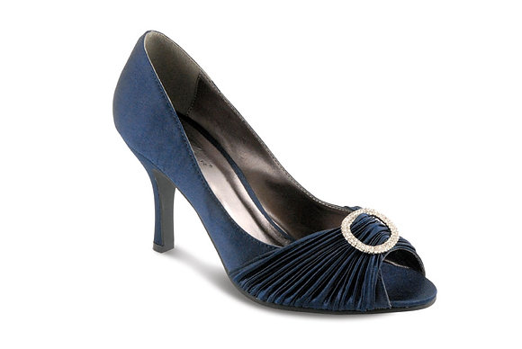 Diamonte mid heel shoes navy