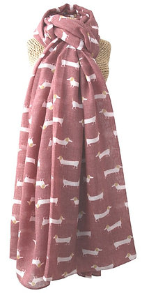Sausage dog print scarf in plum