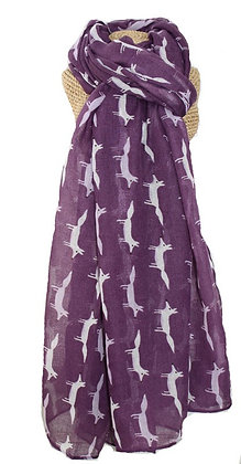 Fox print scarf in purple