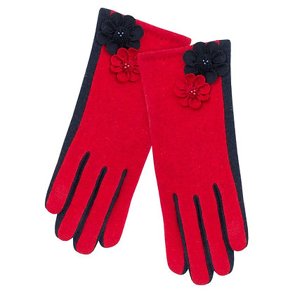 Maisie gloves in red and navy