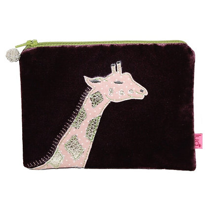 Velvet giraffe purse in plum