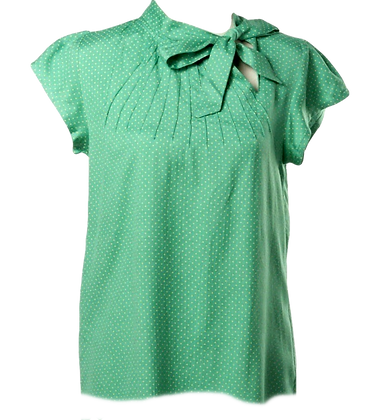 Pindot blouse in green