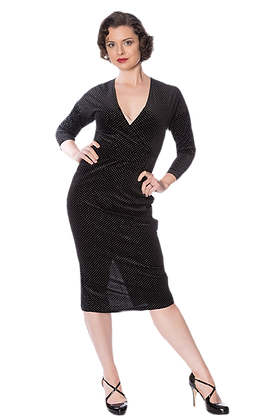 Velour sparkle dress in black