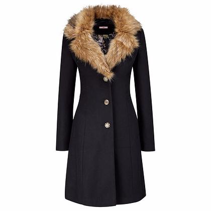 Favourite fur collar coat in black